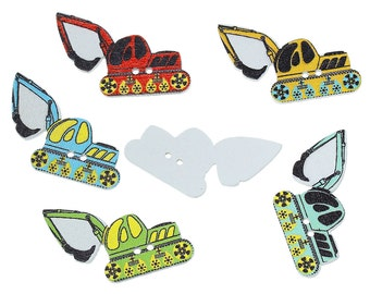 "Assorted Excavator - digger Design Sewing Buttons. 35.0mm(1 3/8"") x 25.0mm(1""). Ideal for Sewing, Scrapbook and Crafts"