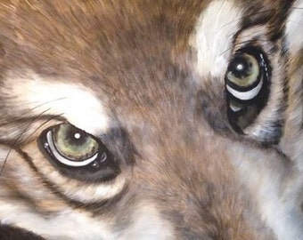 Spirit of the Wolf - Limited Edition Mounted A3 print of beautiful Utonagan eyes