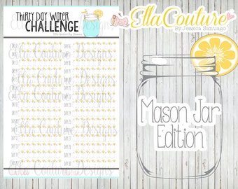 Thirty Day Water Challenge Planner Tracker (Instant Download) Hydration Tracker: Water Intake Mason Jar Edition