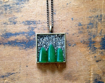 Jade Forest Pyrite Encrusted Necklace
