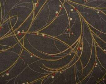Brown Swirl Fabric, RJR 1963 Flutter, Alex Anderson, Fall Grasses Fabric, Dried Grass Fabric & Berries, Fall Fabric, Cotton