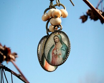 Our Lady of Guadalupe Earrings, Christian Jewelry, Catholic Jewelry