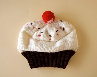 Cupcake Hat / Hand knit cupcake hat with pompom
