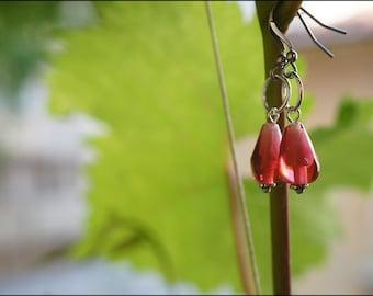 Pomegranate lampwork earrings