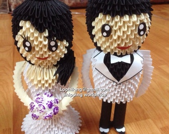 Groom and Bride - White Back Wedding Decoration - 3D Origami