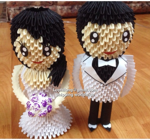 groom and bride white back wedding decoration 3d origami