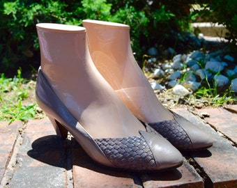 Women size 5 Vintage Taupe Cesare Catini Italian Heels Shoes 80s