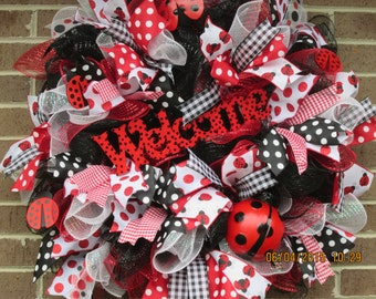 Summer Door Wreath, Summer Deco Mesh Wreath, Front Door Wreath, Summer Front Door Wreath, Summer Wreath, Ladybug Wreath,