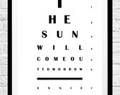 Annie 'The Sun Will Come Out Tomorrow' - Eye Chart Minimalist Poster Print - Original Home Decor, Wall Art,