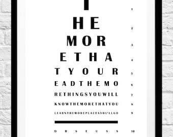 Dr Seuss 'The More That You Read' Quote- Eye Chart Minimalist Poster, Typography Print, Home Decor, Wall Art, Inspirational Nursery Art
