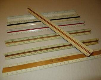 Triangular Scale Rulers Engineering Drafting Lot Vintage