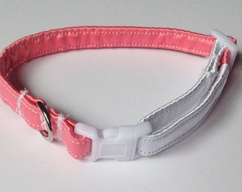 Coral Pink and White Wedding Collar for Girl Dogs and Cats