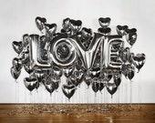 "Love 40"" Silver Foil Balloon - Huge Balloons!"