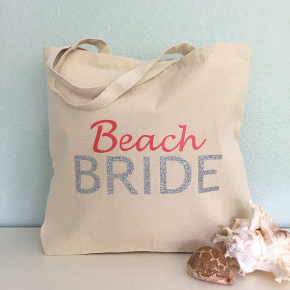 Beach Bride Tote Bag Purse Beach Bag Wedding Tote Or