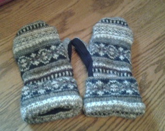 recycled felted wool mittens with a norwegian feel and extra added warmth with polar fleece lining