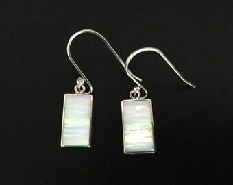 White Opal Drop Earrings // 925 Sterling Silver // White Fire Opal Earrings // Rectangle Shape // October Birthstone