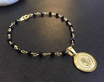 St Benefict charm bracelet goldfilled material 18k