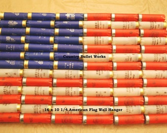 Shotgun Shell American Flag Wall Hanging - Hand Made From REAL Shotgun Shells