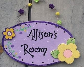 Girls room door hanger, girls room sign, girls room decor, girls door hanger, flower door hanger, flower sign, princess signs