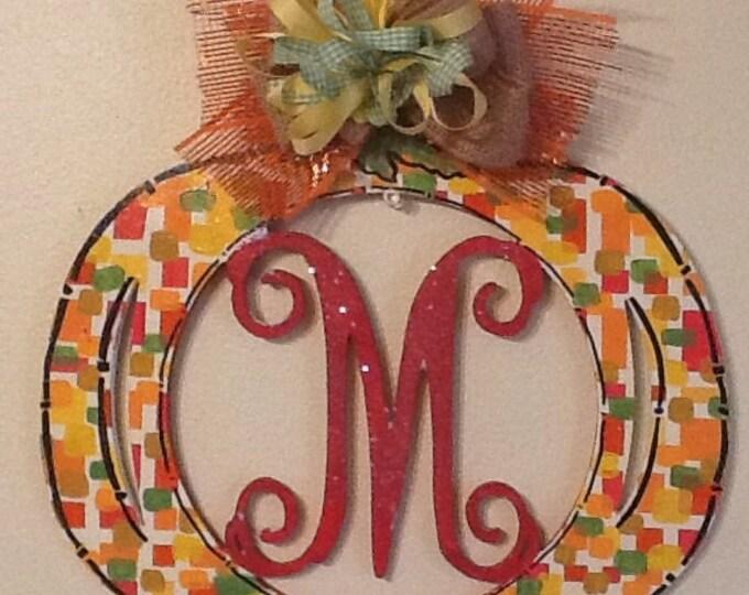 Harvest pumpkin sign, pumpkin door hanger, fall door hanger, pumpkin monogram sign, fall monogram sign, pumpkin sign, autumn sign