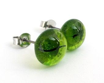 Kiwi Green Glass Studs on Titanium Posts