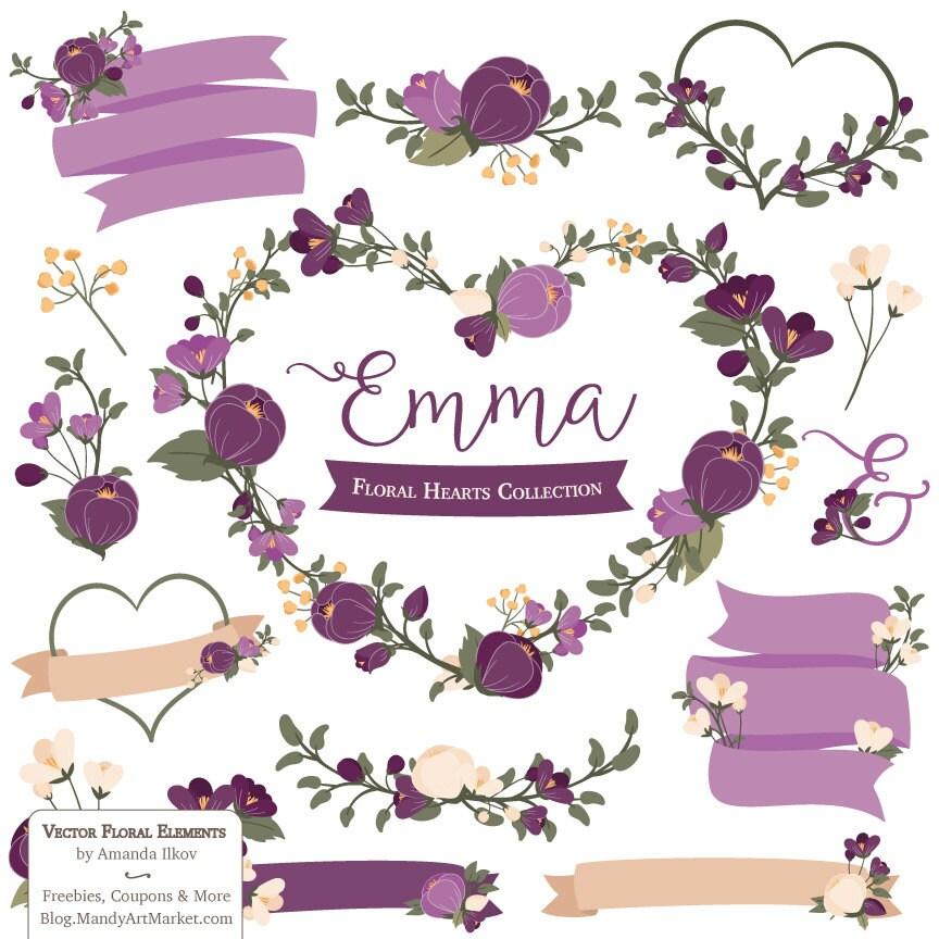 emma floral heart clipart amp vectors in plum plum flowers