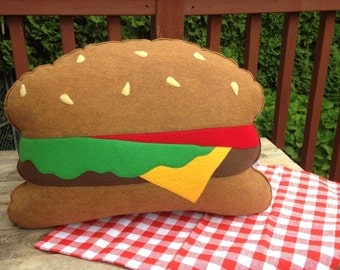 Hamburger Pillow , Hamburger/ Cheeseburger/ Veggie Burger plush, Geeky felt stuffed plush toy pillow