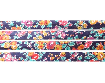 Liberty fabric bias binding 1x Yard of Tatum - J - 10mm, Liberty fabric UK, crafting and sewing supplies for jewellery makers UK