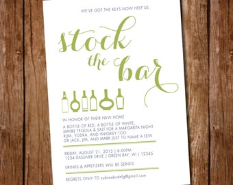 Printable Housewarming - Stock the Bar Party Invitation - Digital File