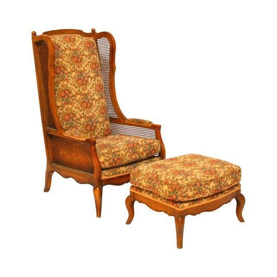 Regency Cane High Wingback Chair and Ottoman