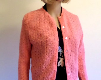 "Vintage 1950's/""60's Coral Cropped Acrylic Lacy Knit Cardigan Reinforced Ribbon Button Band/Lined by Princess Meg /Junior Medium/Lg"