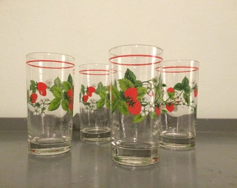 Four Strawberry High Ball Glasses / Tumblers