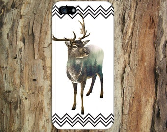 Deer Forest x Black Chevrons Design Case for iPhone 6 6 Plus iPhone 7  Samsung Galaxy s8 edge s6 and Note 5  S8 Plus Phone Case