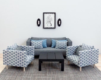 Dollhouse Set of 3 pieces Sofa and chairs , 1:6 scale, Grey, polkadots