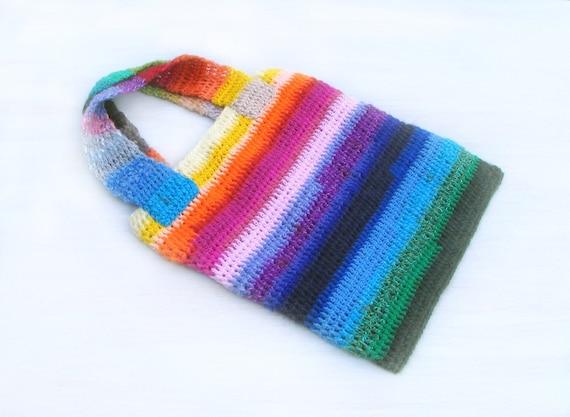 Crochet Beach Bag Tote Bag Rainbow Colorful Yarn Big Handbag with ...