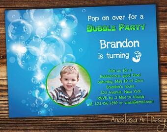 Bubble Birthday Party Invitation, Bubble Party