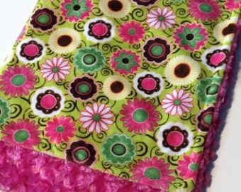 Double covering doudou soft minky reversible cayalou baby girl pink flower