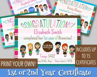 1st or 2nd Year Certificates - Customized - Print Your Own!