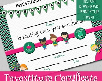 Investiture Certificate - Instant Download - Print Your Own!