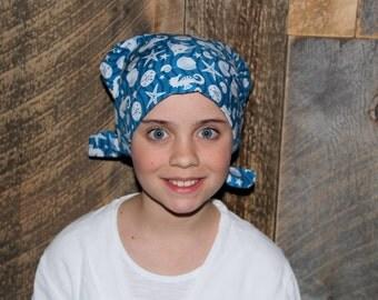 Mia Children's Head Cover, Girl's Cancer Headwear, Chemo Scarf, Alopecia Hat, Head Wrap, Cancer Gift for Hair Loss - Sea World