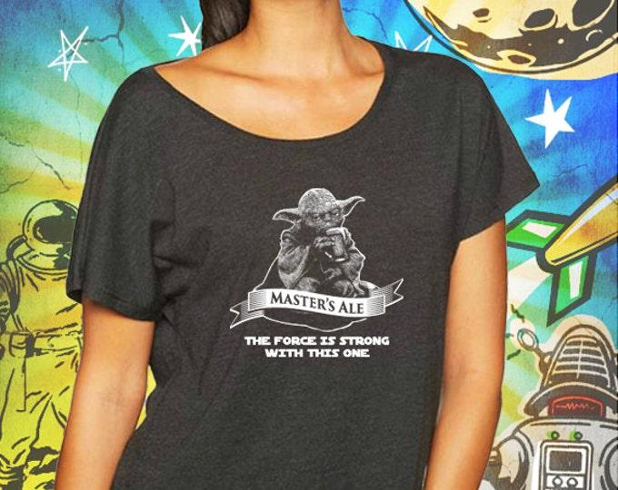 Star Wars Master Yoda's Jedi Ale Vintage Black Women's Dolman T-Shirt Star Wars Beer Dolman T-Shirt
