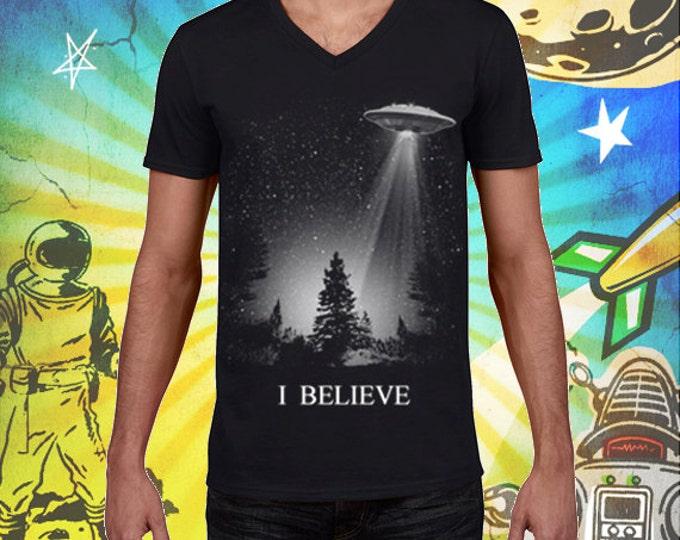 I Believe UFO Men's V-Neck 100% Ring Spun Cotton T Shirt XFiles Tshirt