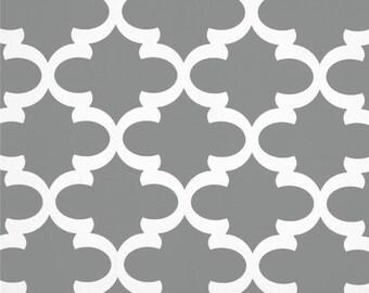 Grey Valance. Moroccan grey Curtain. Cool grey. Quatrefoil Trellis grey. Fynn Grey Window treatment. Designers pattern. Choose  your sizes