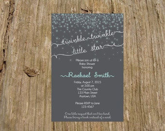 Twinkle Twinkle Little Star Invitation/Announcement, Baby Shower, color options available