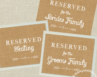Reserved Seating Signs for Wedding / Hessian Burlap Reserved Table Wedding Decor / Bride and Groom / Rustic Boho Wedding Printables 5x7