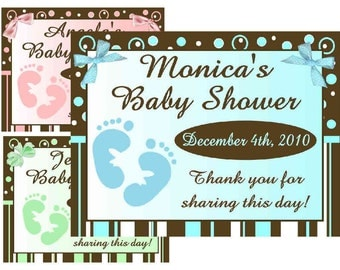 15 Baby Feet Baby Shower Favors Personalized MAGNETS ~ FREE SHIPPING