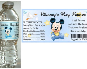 20 BABY MICKEY MOUSE Baby Shower favors water bottle labels ~ glossy ~ waterproof ink