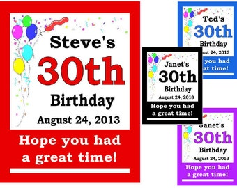 15 ~ 30th Birthday Party Favors Personalized MAGNETS ~ FREE SHIPPING