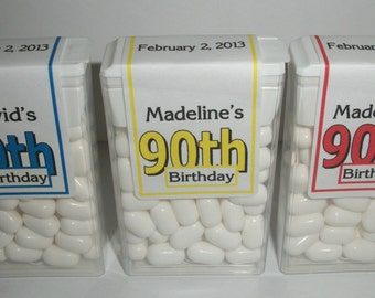 28 ~ 90th Birthday Party Favors Tic Tac Labels ~ Free Shipping