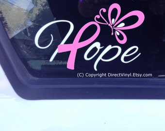 Hope With Pink Awareness Ribbon And Butterfly Window Decal (Breast Cancer)
